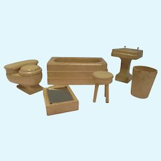 Vintage 1930s Strombecker Wooden 6-Piece Bath Room Set
