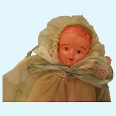 Vintage Celluloid Baby All Original Outfit
