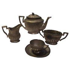 Vintage Miniature Metal Tea Set