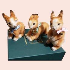 "R John Wright Springtime Friends ""Plunk, Hop & Wobble"" The Trio of Bunnies MIB"