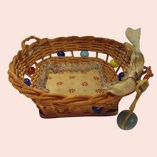 Vintage German Wicker Miniature Baby Basket All Original