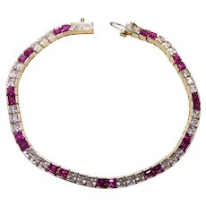 Stunning 14K Gold Tennis Bracelet - With Pink Gemstones & Clear CZ Stones