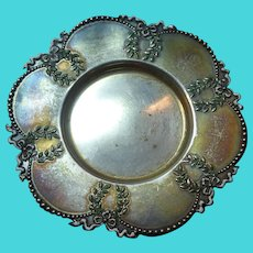 Signed Shiebler Sterling Enamel Small Pin Dish Candle Holder Napoleon Pattern