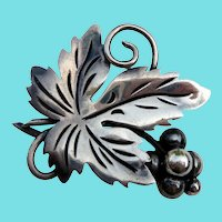 Big Sterling Silver TAXCO  Signed ANA Mexican Taxco Leaf & Berry Brooch