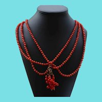 Victorian Festoon Necklace With Coral Glass Beads, Fob and Dangles