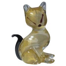 SIGNED ARCHIMEDE SEGUSO Avventurina Glass Cat Figure Murano Glass Italy