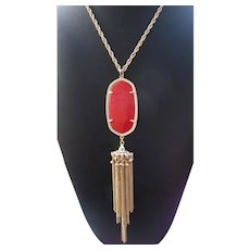 SIGNED KENDRA SCOTT Rayne Tassel Necklace With Bright Red Pendant
