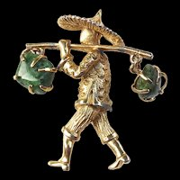 Vintage Asian Water Carrier Brooch AS FOUND