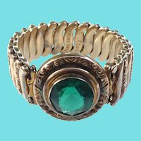 Signed Co-Star Vintage Sterling Base WWII Era Expansion Bracelet W Green Crystal