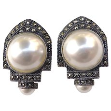 Designer Signed Judith Jack Sterling Marcasite & Faux Pearl Statement Earrings