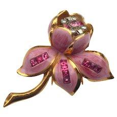 Signed Coro Pink Camilla Flower Fur Clip - Aldoph Katz Design