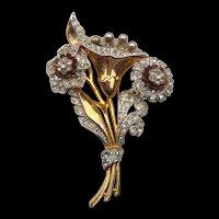 1930s Big Two Tone Gold & Silver Rhinestone Flower Brooch