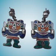 950 Silver Better Than Sterling Earrings With Inlaid Stone - Native Warriors With Crystal Swords