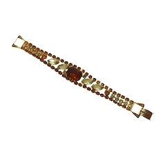 Juliana Crystal Bracelet Flat With Foldover Clasp - Amber & Greenish Crystals