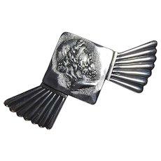 Art Nouveau Sterling Silver Brooch Signed Shiebler #1077 Homeric Medallion