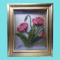 Beautiful Stereographic Oil Painting Of Poppies On Layered Glass Signed Edmond J Nogar