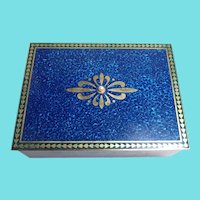 Beautiful Signed MIKIMOTO Enamel Jewelry Box Topped With A Pearl