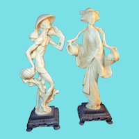 A Pair of Italian Resin Asian Figures Sculptures by A. Santini -