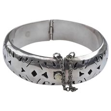Vintage Mexican Sterling Silver Bracelet With Cutout Design