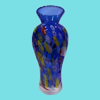 "Lovely 8"" Tall Cobalt Blue Millefiori Art Glass Vase"