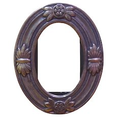 Adorable Sterling Silver Oval Desktop Picture Frame With Flowers & Insects