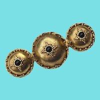 Triple Etruscan Shield Brooch Signed Lazuli