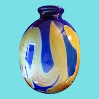 Big Deep Blue & Yellow Art Glass Vase Signed Dick Huss