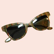 Vintage Ray Ban Cat's Eye Vertical Stripe Sunglasses Circa 1960 With Original White Plastic Case