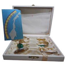 Mid Century Modern Sterling Enamel Boxed Condiment Set From Norway by N.M. Thune