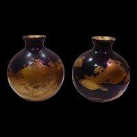 A Pair of Antique Japan Maki-e Wood Lacquer Vases