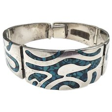 Heavy Mexican Sterling Silver Panel Bracelet With Blue Inlay Stone Signed TC-78