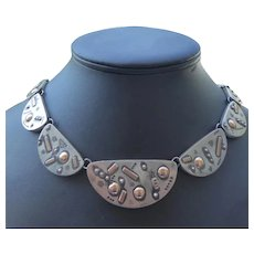 Signed Hadaya Jerusalem Sterling Silver & Gold Custom Necklace - Baruch Hadaya