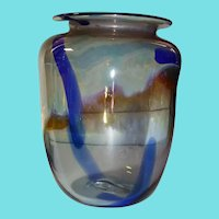 "Signed A ALLISON Art Glass Vase about 5"" Tall"