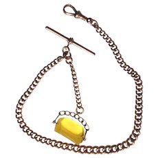 Antique English 9K Gold Pocket Watch Chain Amber Fob - Well Hallmarked & Signed