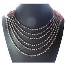 8 Beaded Chain Bib Necklace With Silver Disks
