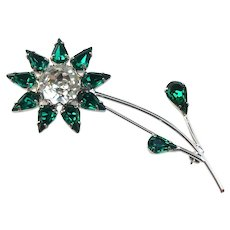 Sparkly Signed B David Flower Brooch With Green & White Crystals in a Rhodium Plate Setting