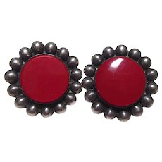 Big Older Vintage Mexican Sterling Silver Earrings With Red Centers