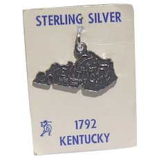 Signed Sterling Silver Kentucky State Charm on Original Card Unused Vintage