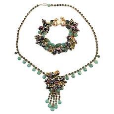 Amazing DeLizza & Elster Juliana Painted Polka Dot Demi Parure Necklace & Bracelet