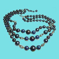 Older Vintage JAPAN TRIPLE STRAND Iridescent & Glass Blue Bead Bib Necklace