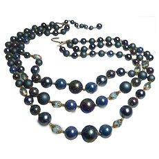 Older Vintage JAPAN TRIPLE STRAND Iridescent & Glass Blue Bead Bib Necklace