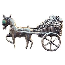 Mexico Silver Horse Pulling Fruit Cart Brooch 865 Silver Signed ABM