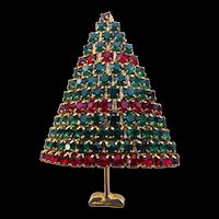 Vintage Red & Green Crystal Christmas Tree Brooch