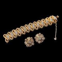 Signed Jomaz Gold Plated Rhinestone Bracelet & Earrings Set