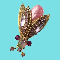 Vintage Pink Winged Insect Brooch With Pink Crystals