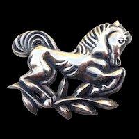 Big Vintage Whimsical Sterling Silver Horse Brooch