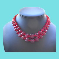 Bold Red Glass Bead Double Strand Necklace - Filigree Sterling Clasp