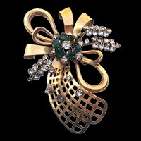 Lovely Vintage 12K Gold Filled Brooch Signed Phyllis - Green & Clear Rhinestones