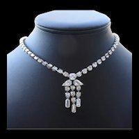 Vintage Rhinestone Necklace With Center Drop