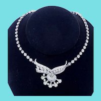 Beautiful Signed Engel Brothers Vintage Rhinestone Necklace